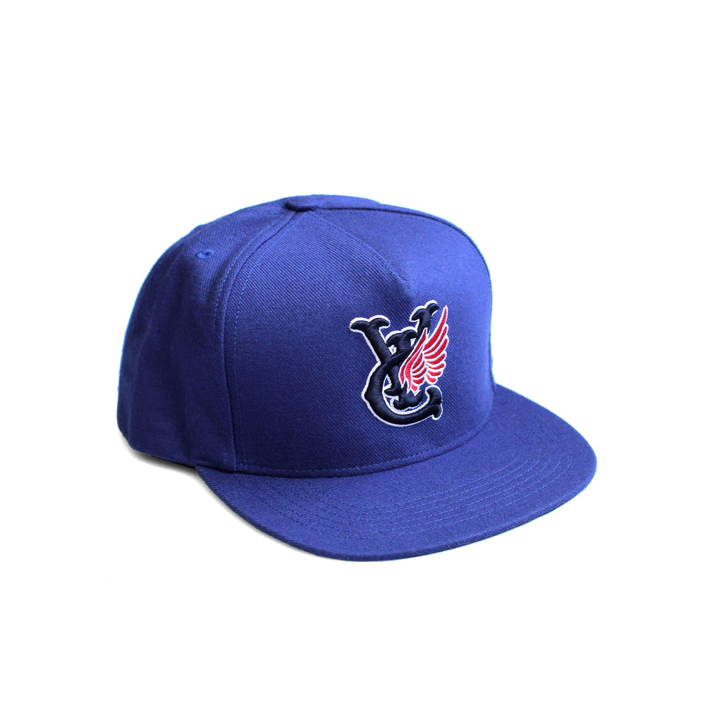 Premium quality baseball snapback hat in royal blue by New Zealand skate and streetwear clothing label VIC Apparel. Embroidered logo. A-frame snapback cap style, hand made in the USA.