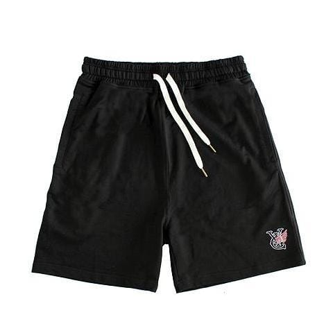 WING SWEAT SHORTS - BLACK