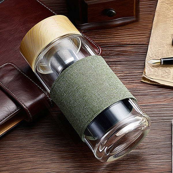 Water Bottle Tea Infuser Stainless Steel Tumbler W/ Cover
