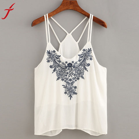 Embroidery Women Cami Crop Tops