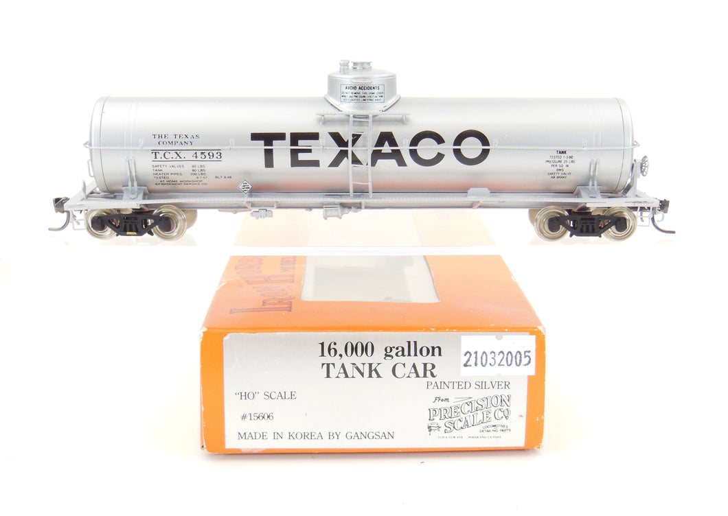 HO Brass PSC - Precision Scale Co. 16,000 Gallon Tank Car Painted Silver Texaco