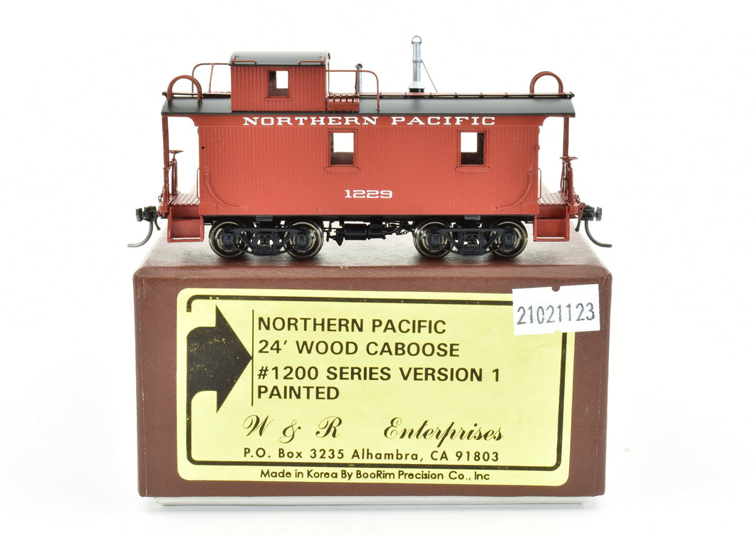 HO Brass W&R Enterprises NP - Northern Pacific 24' Wood Caboose #1200 Series Version 1 Painted