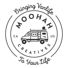 Logo for Moohah Creatives Vanlife company with saying Bringing Vanlife to Your Life.  Outline of @moohahvanadventures 4x4 Sprinter with heads of dad and two girls who started Moohah Creatives window covering, blanket, and pillow fabric company.