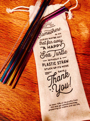 Eco-Friendly Metal Rainbow Straws (4 Pack)