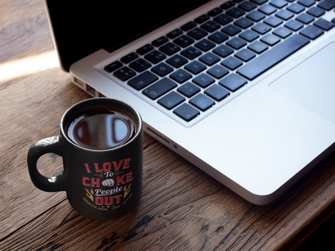 BJJ Love Chokes Black Mug