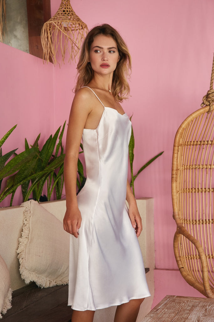 Flaunt Slip Dress - Bright White - Wustler