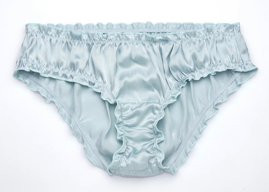 Silky Frilly Panties - Dusty Blue