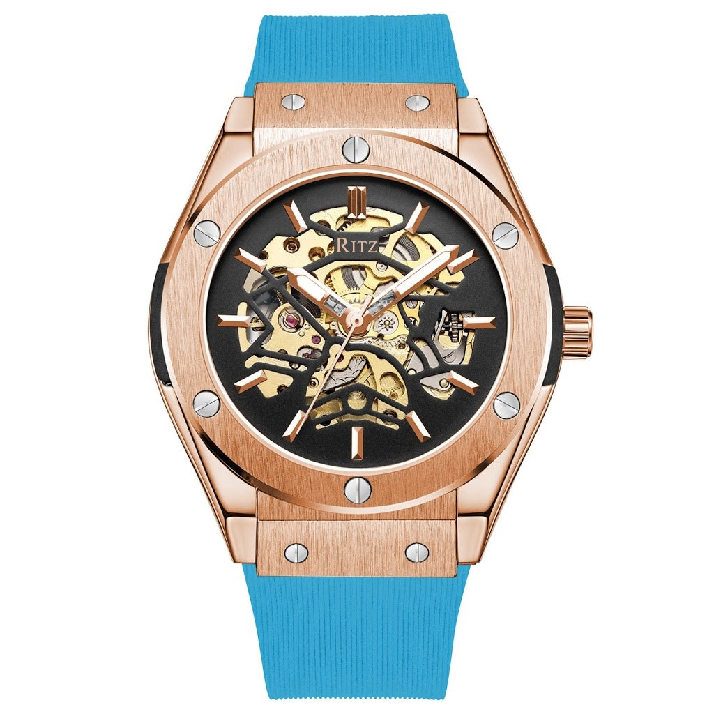 ATLAS AUTOMATIC SKELETON / ROSE GOLD BLUE