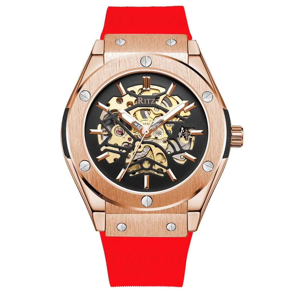 ATLAS AUTOMATIC SKELETON / ROSE GOLD RED