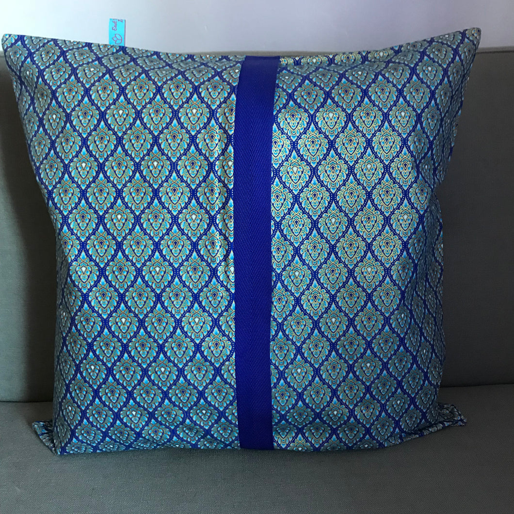 45 x 45 cm square cushion cover - blue and gold