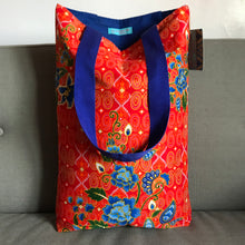 Tote bag - scarlet, orange and blue floral batik