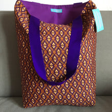 Tote bag - purple geometric pattern