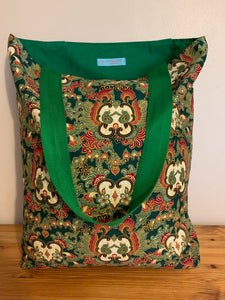 Tote Bag - green, burgundy and white paisley heart print