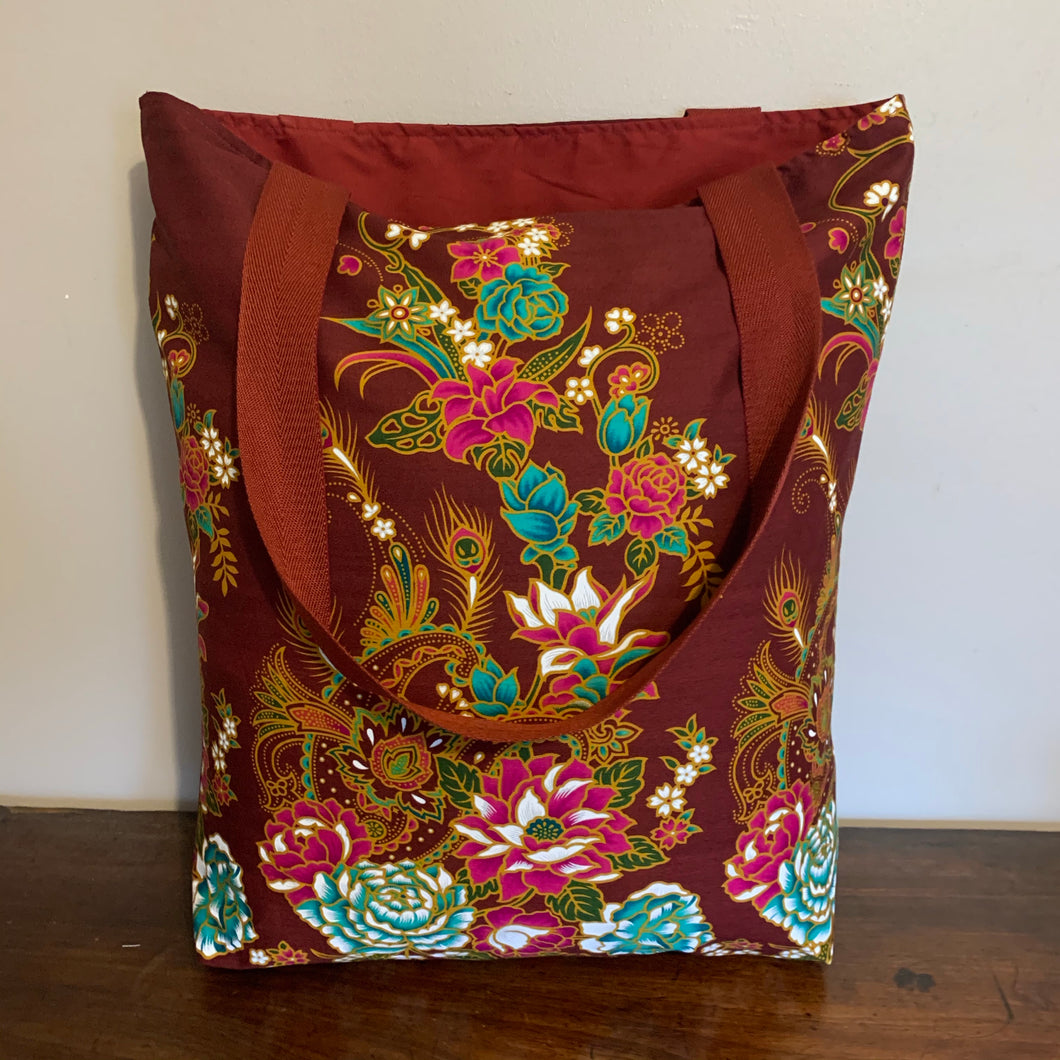 Tote bag - russet, ochre, pink and teal peacock/paisley floral