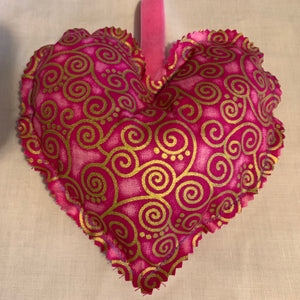 Lavender Hanging Heart - pink curly geo