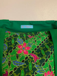 Tote bag - green, pink and blue diagonal floral