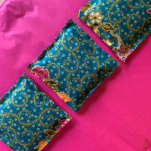 Set of 3 Lavender Filled Drawer / Clothing Sachets - Teal and Mustard