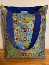 Tote Bag - blue and gold mandala type geometric