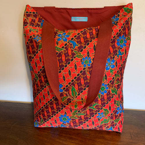 Tote bag - red, burgundy and blue diagonal floral