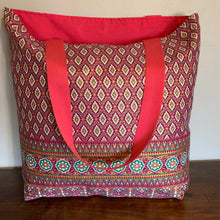 Tote Bag - pink, magenta and green traditional geometric