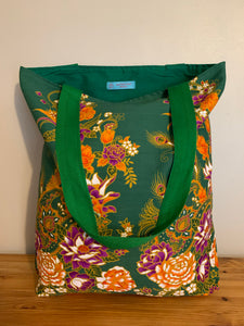 Tote bag - green, orange and purple peacock/paisley floral