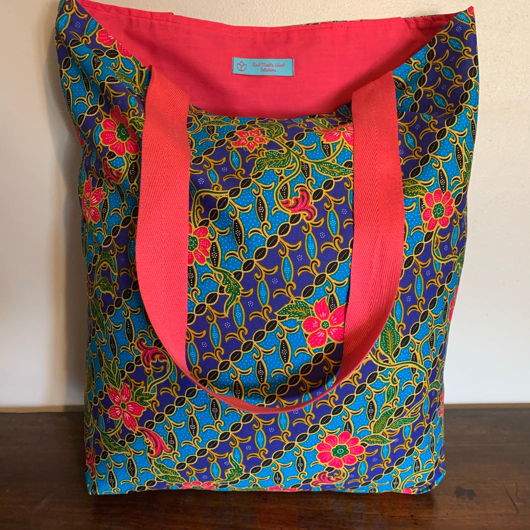 Tote bag - blue, pink and turquoise diagonal floral