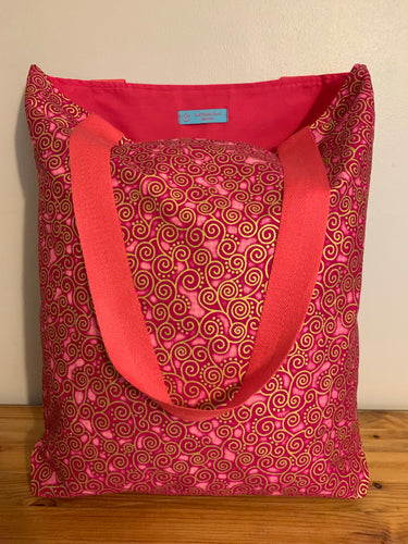 Tote Bag - pink and gold curly geometric