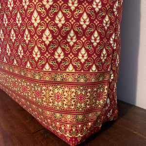 Tote Bag - burgundy, gold and white traditional geometric