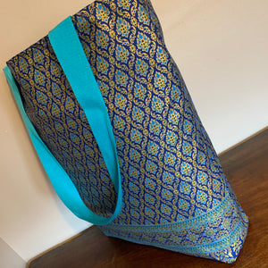 Tote Bag - blue, gold and turquoise intricate print