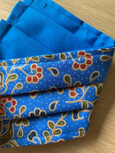 Face Mask - Mid Blue Floral Batik
