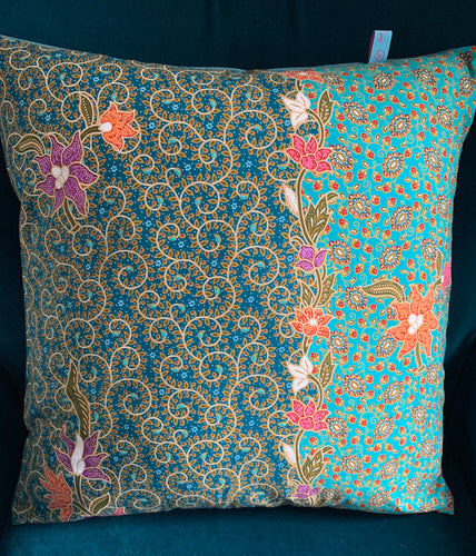 45 x 45 cm square velvet backed cushion cover - turquoise teal batik