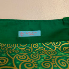Tote bag - emerald green and gold curly geometric