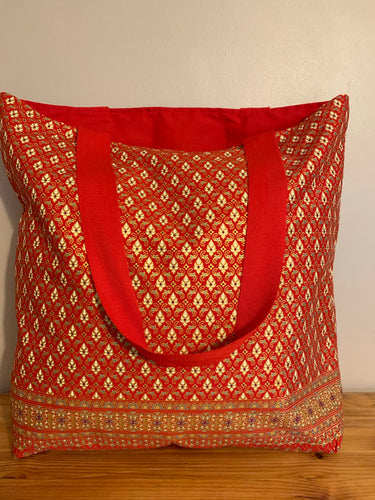 Tote Bag - red and gold traditional geometric