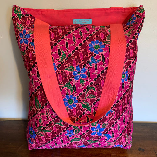 Tote bag - pink and blue diagonal floral