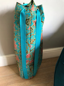 Yoga Mat Bag - turquoise and green floral jasmine batik