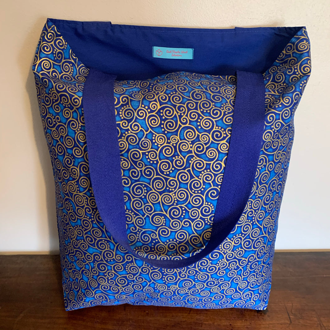 Tote Bag - royal blue and gold curly geo print