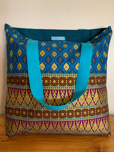 Tote Bag - turquoise, purple and gold leaf print