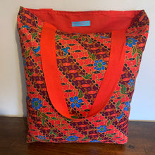 Tote bag - red, russet and blue diagonal floral