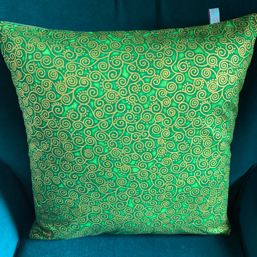 45 x 45 cm square velvet backed cushion cover - green curly geometric