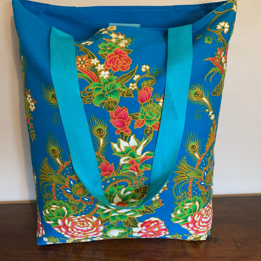 Tote bag - turquoise, pink and green peacock feather/paisley floral