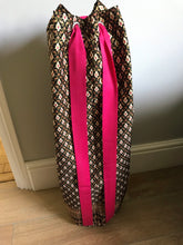 Yoga Mat Bag - black and pink geometric