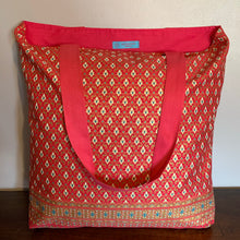 Tote Bag - pink, gold and blue traditional geometric