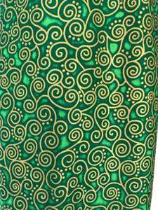 Yoga Mat Bag - green curly geometric