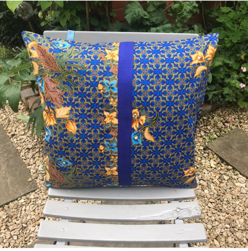 45 x 45 cm square cushion cover - blue and ochre