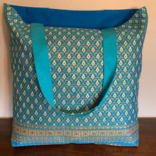 Tote Bag - turquoise, gold and pink traditional geometric