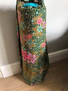 Yoga Mat Bag - dark green and chalky turquoise floral batik