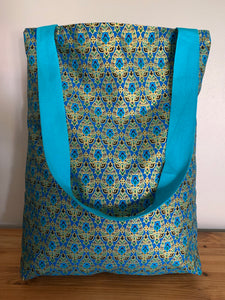 Tote Bag - turquoise, purple, teal, peacock print