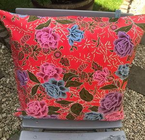45 x 45 cm square cushion cover - red floral