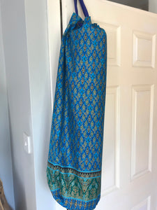 Yoga Mat Bag - blue turquoise geometric