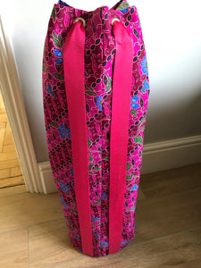 Yoga Mat Bag - pink diagonal floral